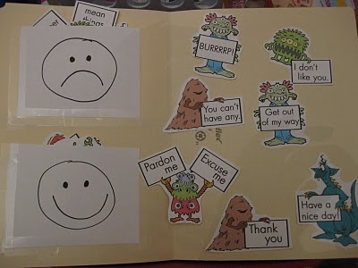 Monster Manner File Folder... good way to teach good and bad behaviors and it not be about what they are currently doing.