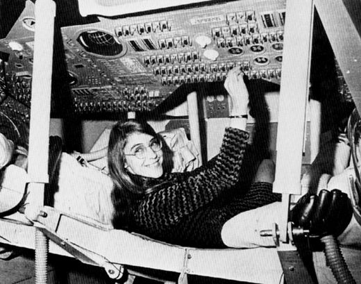 Margaret Hamilton inside a mock-up of the Apollo command module. MIT via Her Code Got Humans on the Moon—And Invented Software Itself | WIRED