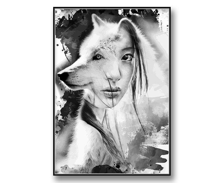 """Wolf & woman"" posters / tavla"