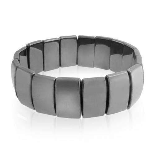 Bling Jewelry Rectangular Magnetic Hematite Stretch Bracelet Dark Grey Gemstone