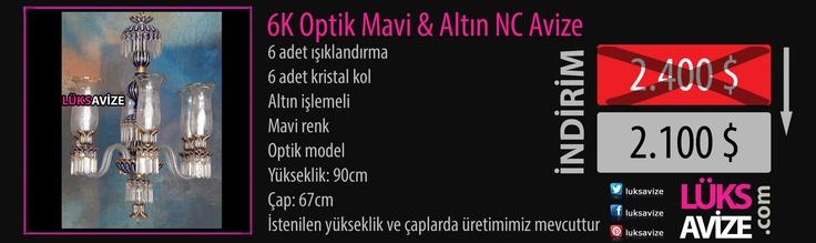 6K Optik Mavi Altın NC Avize