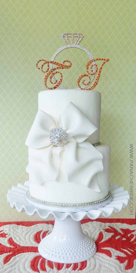 59 best Monogram Cake Toppers images on Pinterest Wedding cake