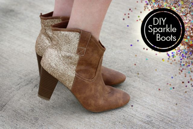 DIY Sparkle Glitter Boots by Kara: Made from a pair of Old Navy boots, fabric paint and Martha Stewart glitter. #Glitter_Boots #DIY #sprinklesinsprings