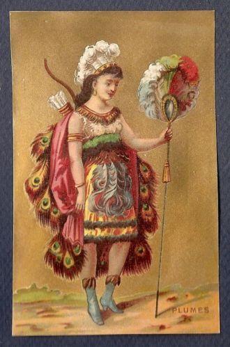 Plumes Chromo Victorian Trade Card Tissu Guerrier Habit Indien