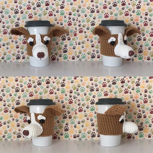 Fresh off the hook. Greyhound mug cozy. #hookedbyangel hookedbyangel.com