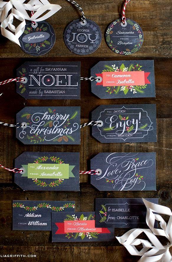 Christmas DIY chalkboard art gift tags  gift wrapping ideas ToniK ⓦⓡⓐⓟ ⓘⓣ ⓤⓟ