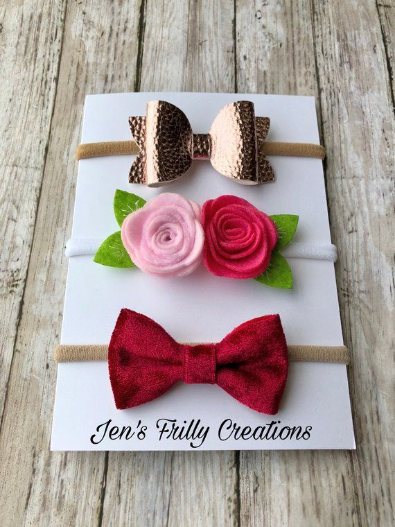 This listing is for one Valentine s Day baby headband set. The set includes  one metallic rose gold bow headband cd4754552de