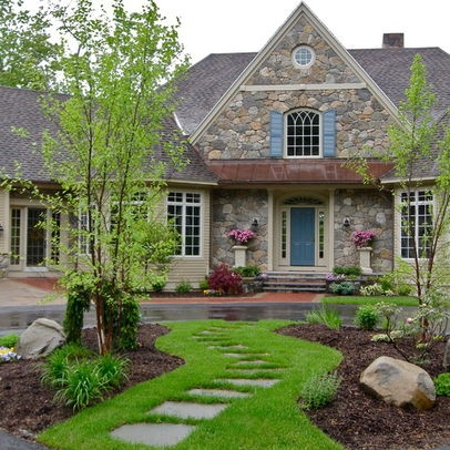 Curb Appeal Landscape Circular Driveway Stone Pathway I Like The Idea Of Connecting The