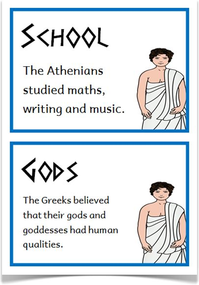Ancient Greeks Fact Cards - Treetop Displays - A set of 20 A5 fact cards that give fun and interesting facts about the ancient Greeks. Each fact card has a key word heading, making this set an excellent word bank as well! Visit our website for more information and for other printable resources by clicking on the provided links. Designed by teachers for Early Years (EYFS), Key Stage 1 (KS1) and Key Stage 2 (KS2).