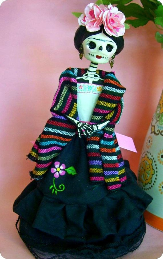 Day of the dead Frida Kahlo Paper Mache Catrina doll by AmericaP on Etsy, $30.00