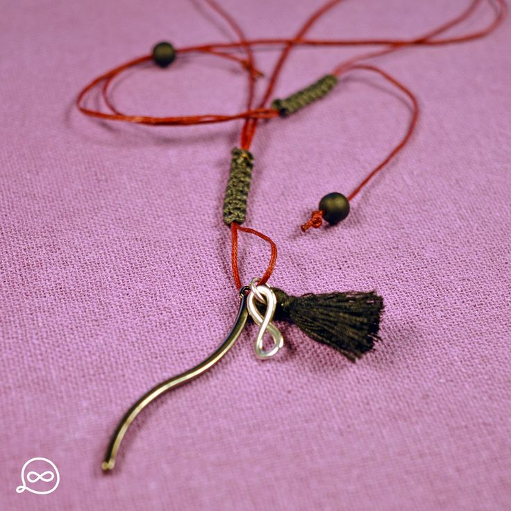Gunmetal Rod & Black Tassel Necklace. #tufatufa