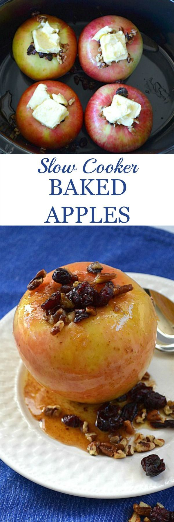 Slow cooker baked apples recipe makes the ultimate in comfort food. Made from 100% whole food ingredients, this is a healthy, easily made dessert for families.