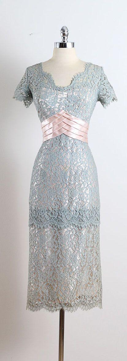 NORMAL ORIGINAL ➳ vintage 1950s dress * blue gray floral lace * pink satin accent * pink acetate lining * back tails * metal back zipper * A Norman Original