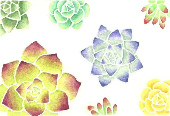 Quick illustration using the Elegant Succulents stamp set. Perfect for watercolor coloring with pencils. Can be used as flowers as well