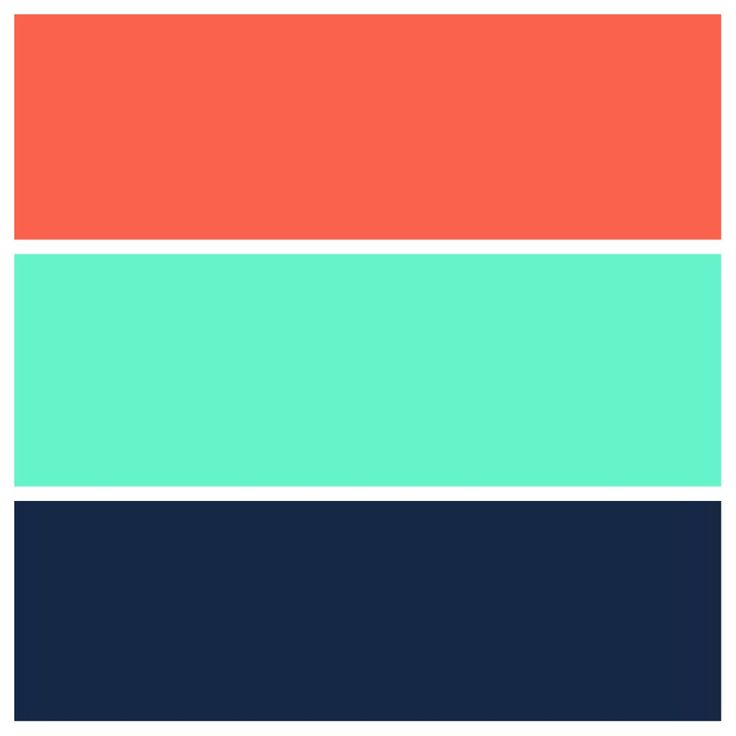Teal, navy, and coral color scheme