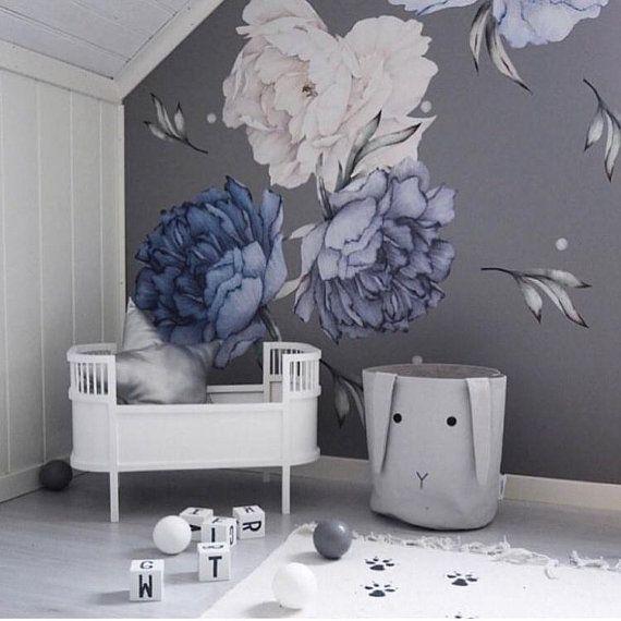 Decals For Boys Baby Boy Decor Blue Flower Decor Peony Blue