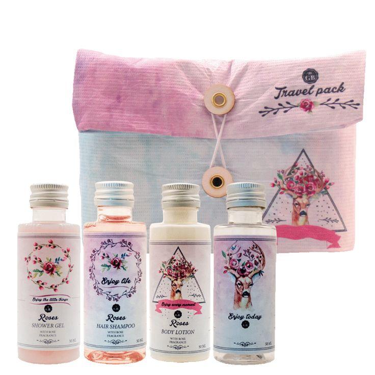 Travel pack Deer (Roses): Shower Gel 50 ml, Hair Shampoo 50 ml, Body Lotion 50ml, Free Bottle 50 ml. Best Gift Pack for her, girls, ladies, fashion lovers..