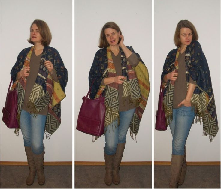 Sunny's side of life: #mystyle Januar 2015 - Poncho - New Look | Pulli - Glasmacher | Jeans - S.Oliver | Stiefel - Gabor | Tasche - &other storries | Messingschmuck - AVON