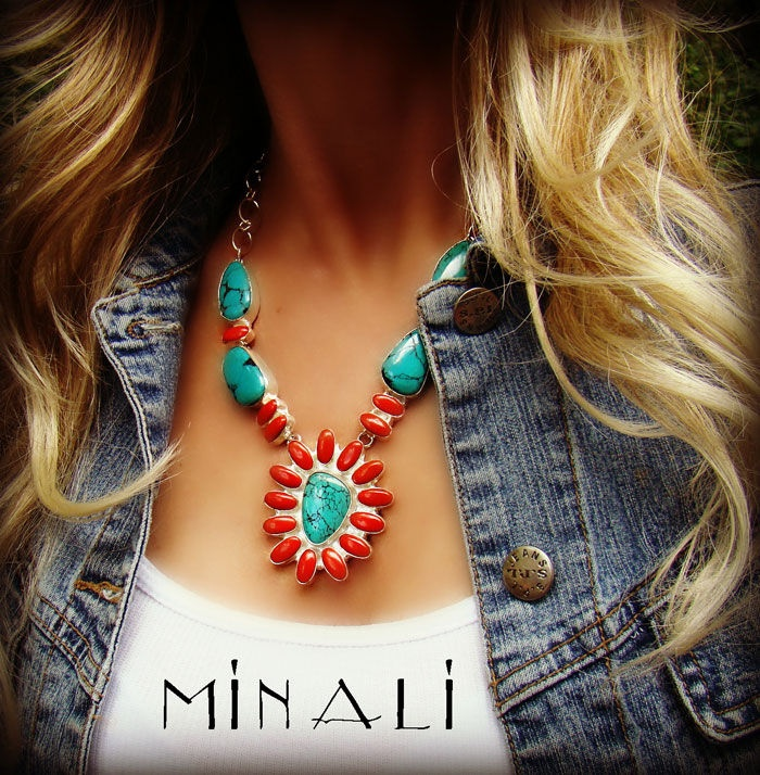 Into The Sun Necklace: Necklaces Collection, Sun Necklaces, Coral Necklaces, Products Image, Fashion Envy, Turquoi Bluff, Silver, Turquoise Bluffs