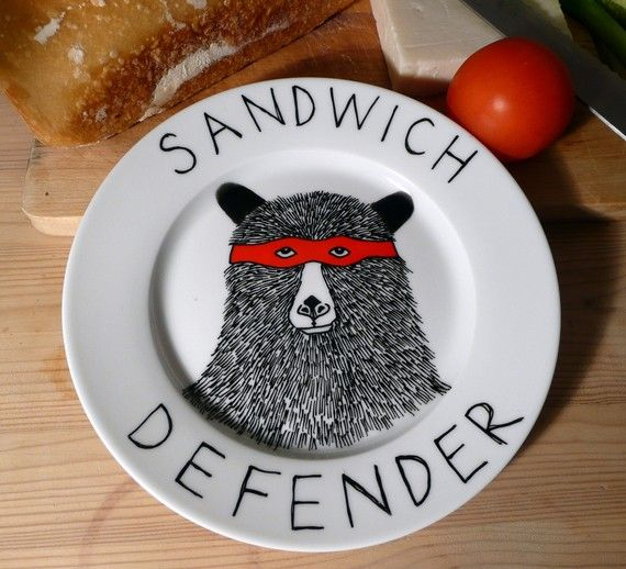 The Sandwich Defender Bear side plate by jimbobart on Etsy