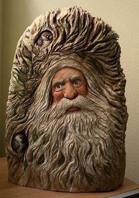WOOD Carved BIG Woodland WOOD SPIRIT / SANTA / GNOME with Birds OOAK Carving