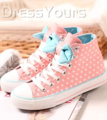 Polished Pink Bowknot Polka Dots Canvas Shoes: dressyours.com