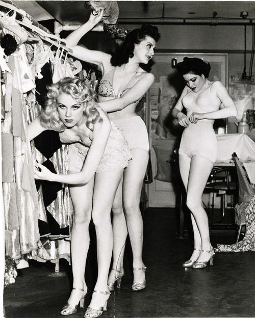 The Earl Carroll Vanities Burlesque Show dancers backstage c. 1940's