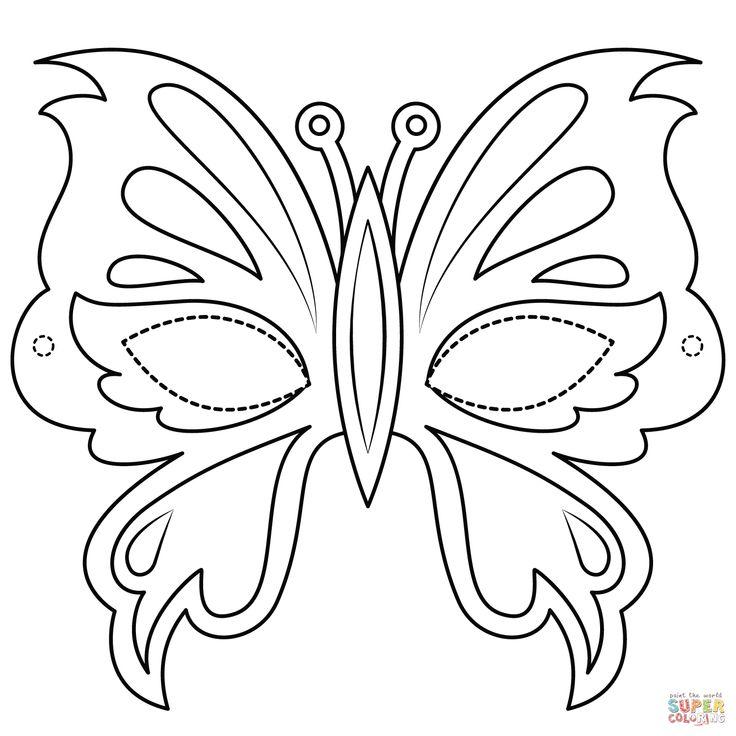 sommerfuglemaske tegninger til print  malvorlagen tiere