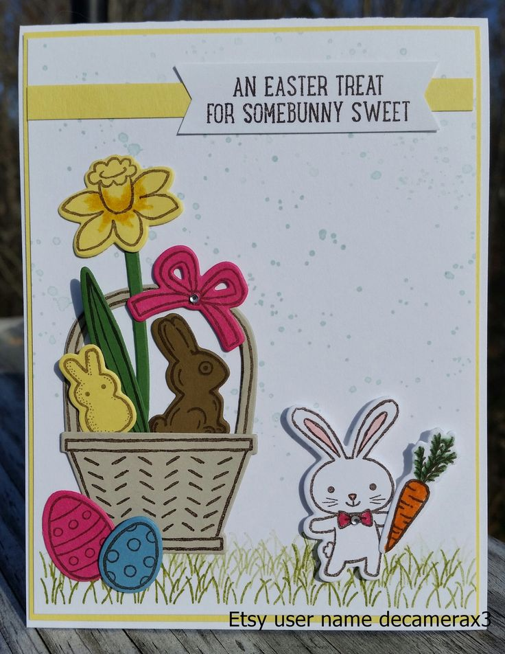 500 best stampin up easter images on pinterest baby bunnies handmade easter card stampin up basket bunch by decamerax3 on etsy negle
