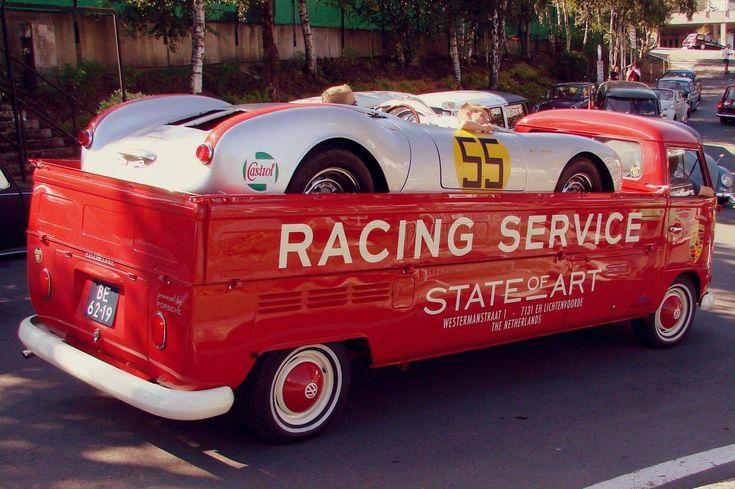 Porsche 550 Spyder race car on back of stretched 1967 VW transporter