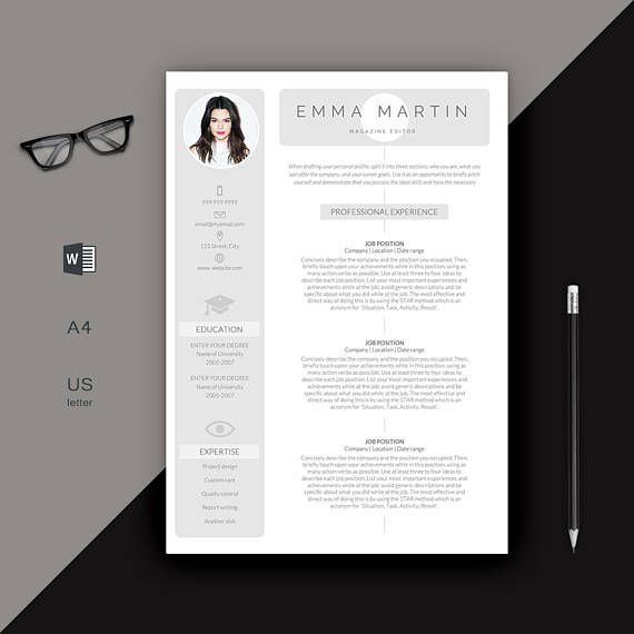 Resume Template | Modern Resume | Creative Resume | Photo Resume | Professional Resume | Word CV + Cover Letter | 1, 2 Page Resume | Word