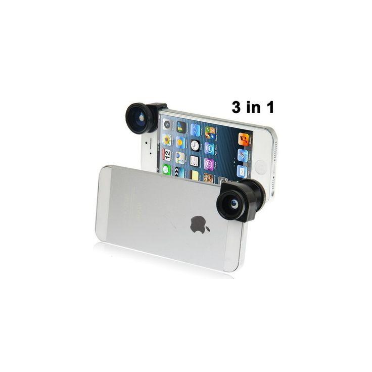 Photo Lens Kit 3 in 1 (180 Degree Fisheye Lens + Super Wide Lens + Marco Lens) for iPhone 5 - Black Model  OMSC0BBK