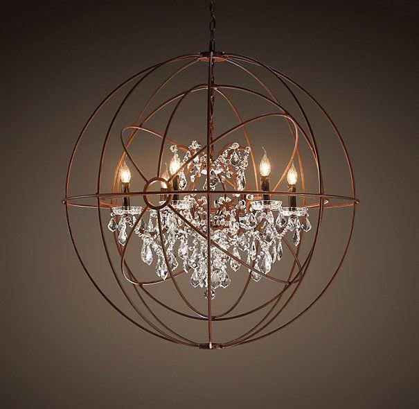 Restoration Hardware Lighting Orb: Foucault's Twin-Orb Crystal Chandelier Rustic Iron