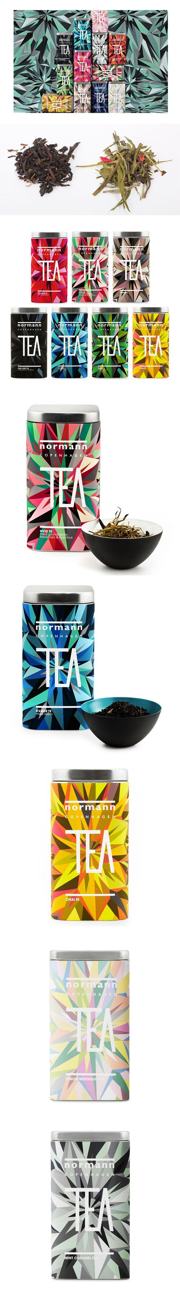 Great use of geometric design to represent tea leaves. Normann Copenhagen Tea #packaging #design