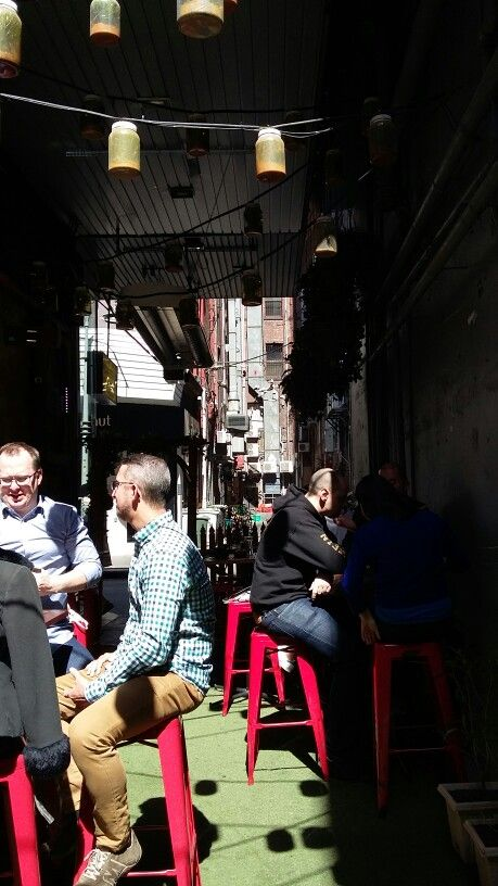 Alleyway Chuckle Deli.  Great use of space + packed with people