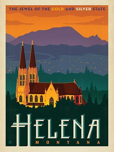 Helena, MT - Anderson Design Group has created an award-winning series of classic travel posters that celebrates the history and charm of America's greatest cities and national parks. This print features a striking evening view of the Helena skyline. Printed on heavy gallery-grade matte finished paper, this lovely Montana print will look great on any home or office wall…
