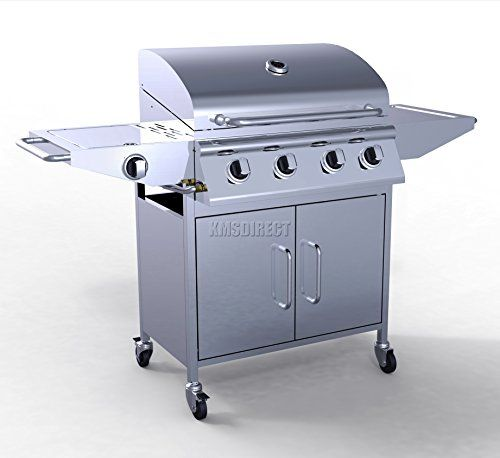FoxHunter Garden Outdoor Portable BBQ Gas Grill Stainless Steel 4 Burner Barbecue Barbeque   1 Side Burner With Thermometer New