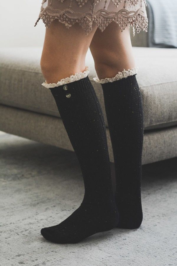 - Spandex boot socks with ivory/cream ruffled lace trim and accent buttons. - 24 x 3.