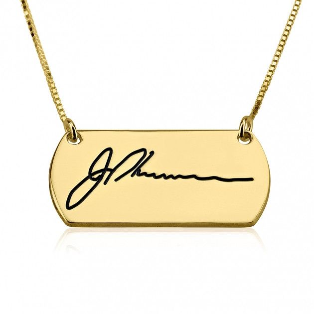 24K Gold Plated Custom Engraved Signature Handwriting Bar Necklace