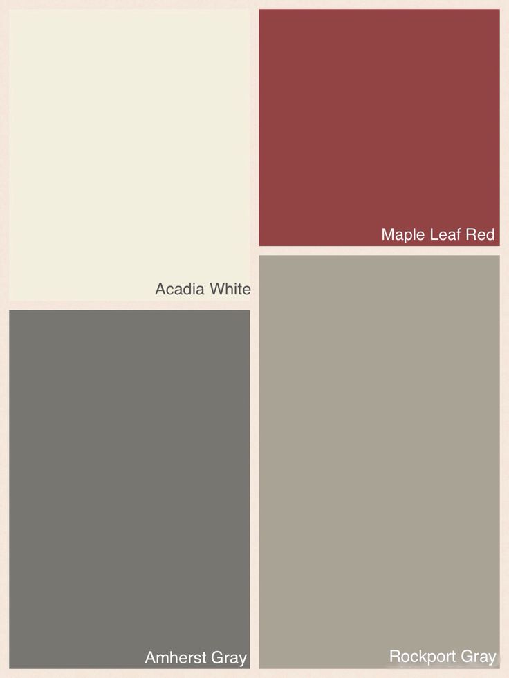 Benjamin Moore colours for exterior of house. Main colour: Rockport Gray; Trim: Acadia White; Door: Maple Leaf Red; Front Steps: Amherst Gray Semi-Solid Stain.