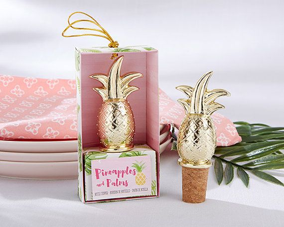 Gold Pineapple Bottle Stopper Corks Wine Stoppers Favors Winery Keepsake Champagne Tropical Beach Luau Party Wedding Bridal Shower Host…