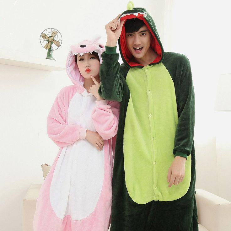 $37.16 - Adult Dinosaur Onesies Kigurumi Pajamas for Couples with Feet Slippers
