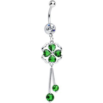 Clear CZ Green Four Heart Clover Dangle Belly Ring | Body Candy Body Jewelry #bodycandy #piercings #bellyring