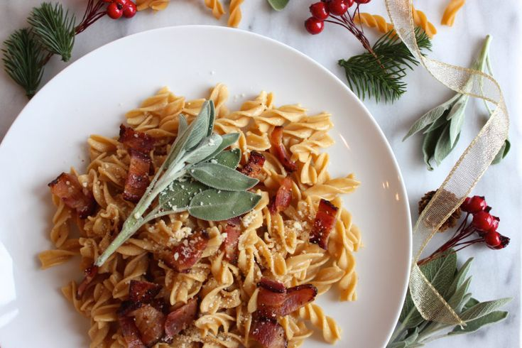 Brown Butter, Sage, and Bacon Rotini | Made with Banza chickpea pasta