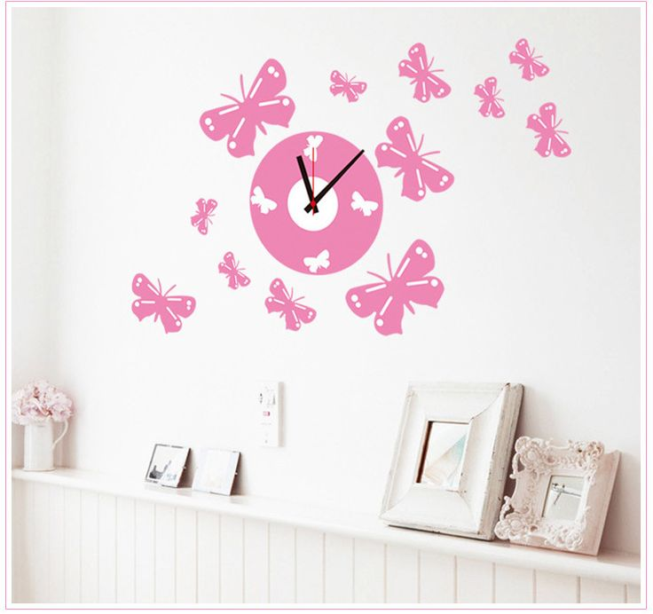 3D pvc Creative clock fantasy princess grils kids room wall stickers decorative painting pink butterfly clock Wall Stickers #Affiliate