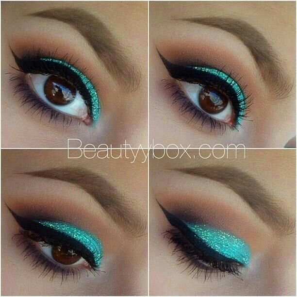 Turquoise glitter eye shadow for brown eyes