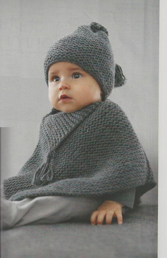 Ensemble poncho et bonnet en laine de qualité : Mode Bébé par babymaille