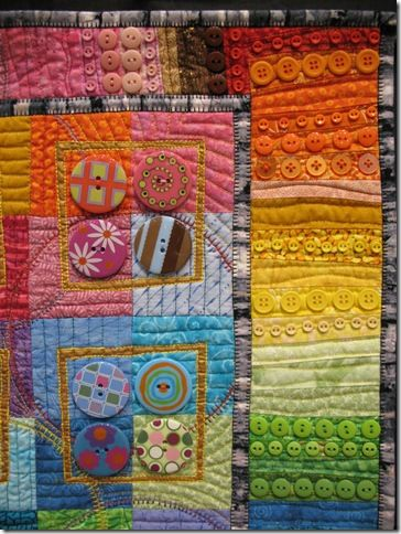 Button Quilts ala Wal-Mart - Quilt artist Karen G. Fisher made a series of wall quilts designed to showcase buttons she purchased at her local Wal-Mart.  The buttons are a line distributed by Blumenthal Button Company.