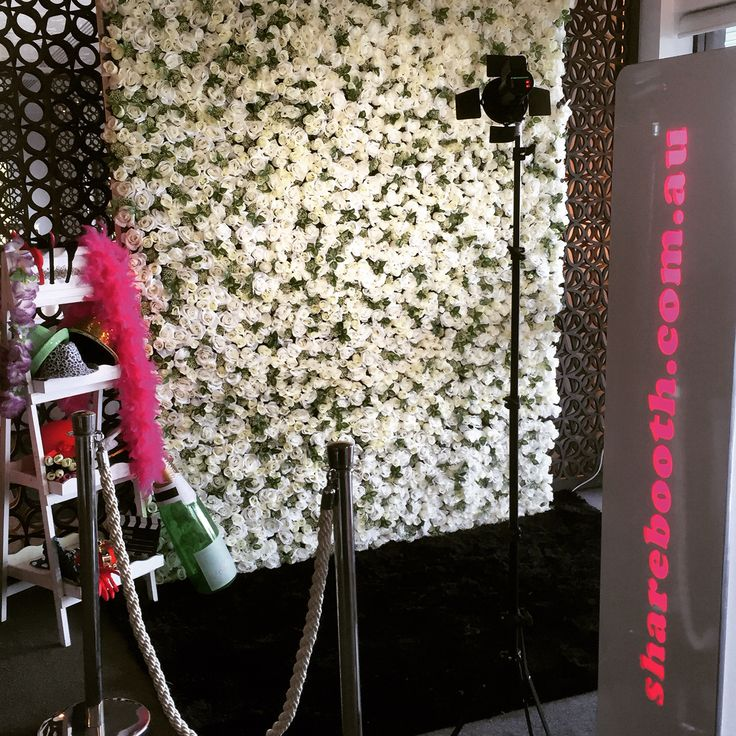 White Flower Wall & photo Booth  Enquire with us today! Info@sharebooth.com.au www.sharebooth.com.au