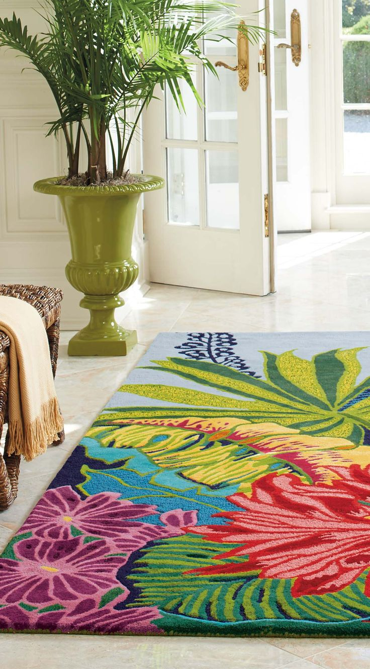 Love is afoot. Inspired by tropical foliage and flowers, this beautifully bright and sculpted Captiva area rug is sure to anchor your room and delight with every step. | Love, Grandin Road